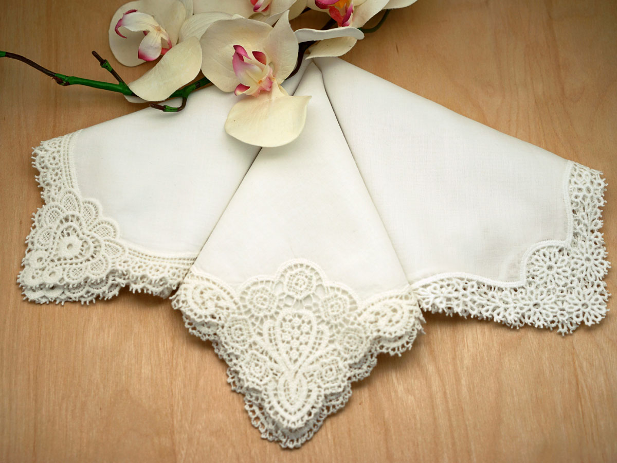 Bridal Set of 3 Different Ivory Cluny Lace Wedding Handkerchiefs