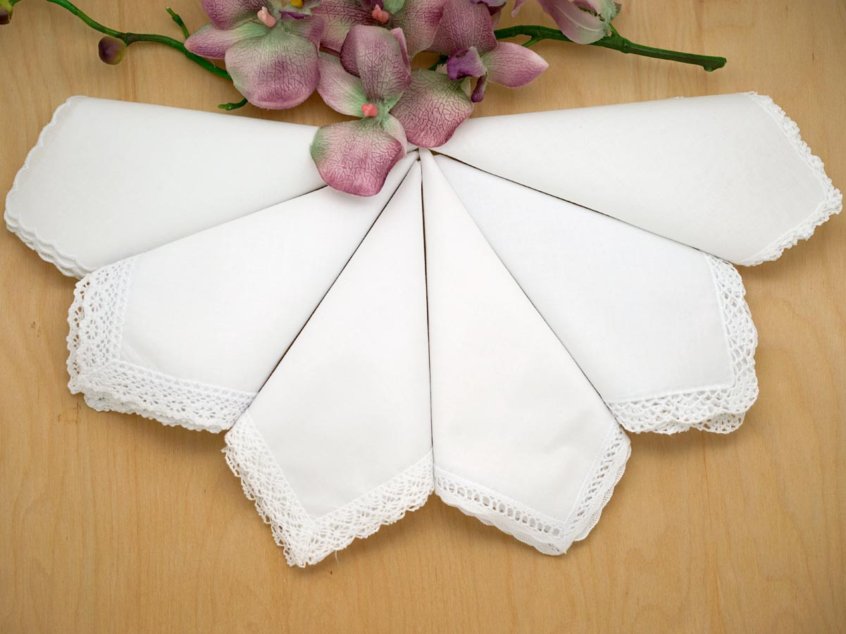 Bridal Set of 6 Different Wedding Handkerchiefs - Set 2A