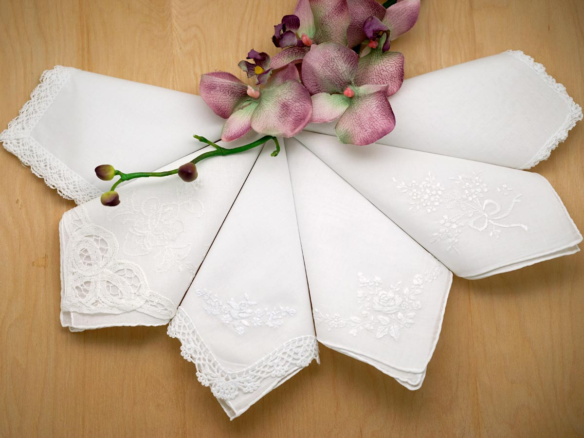 Bridal Set of 6 Different Wedding Handkerchiefs - Set 4A