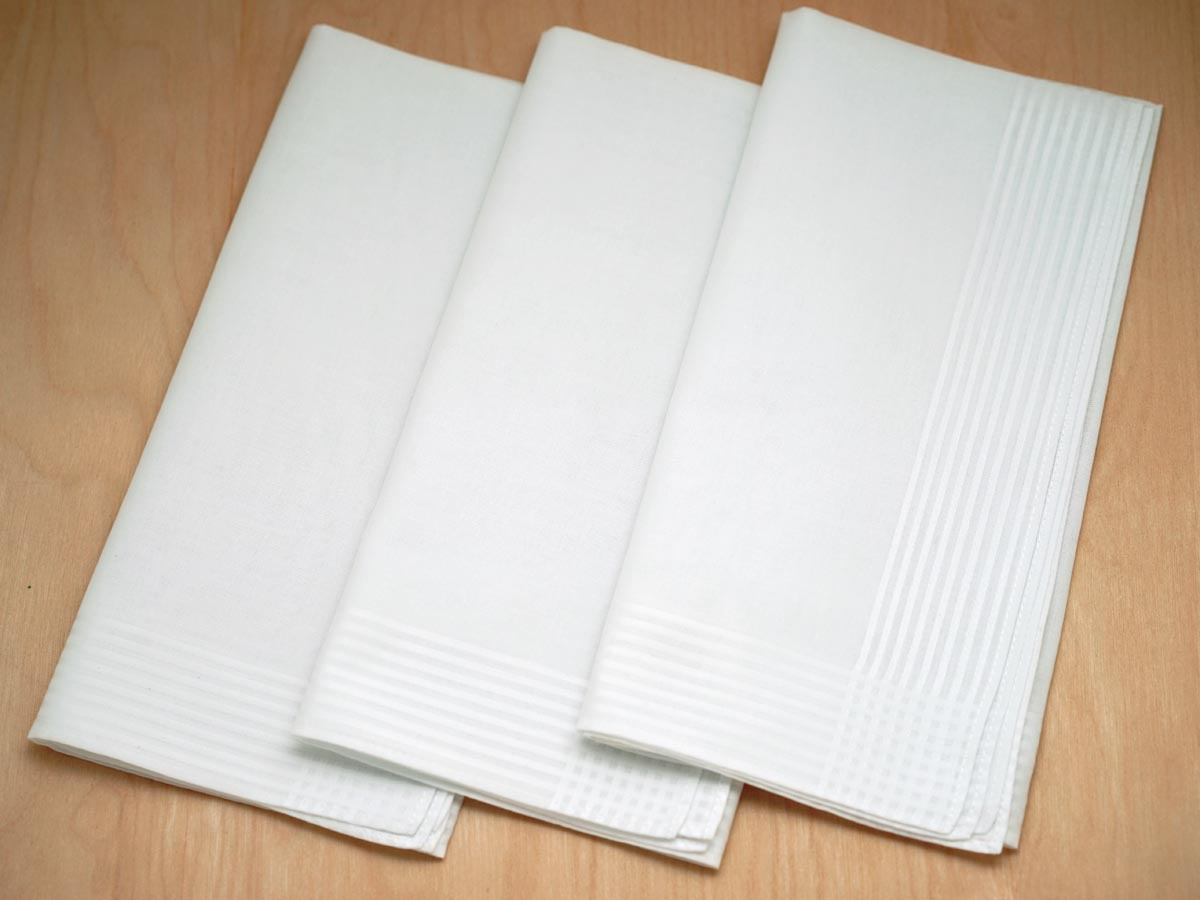 Set of 3 Fine Woven Mens Handkerchiefs with Thin Stripe Border