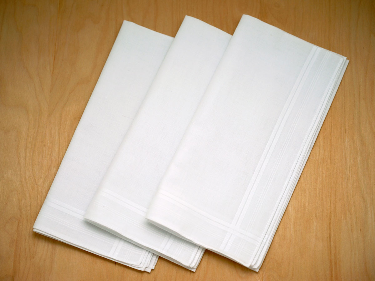 Set of 3 Fine Woven Mens Handkerchiefs with Narrow Stripes