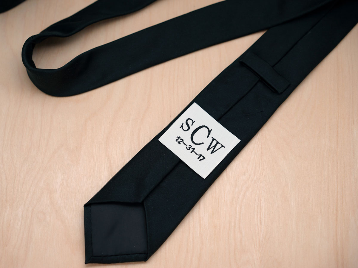 Monogrammed Wedding Tie Label w/ 3 Initials and Date