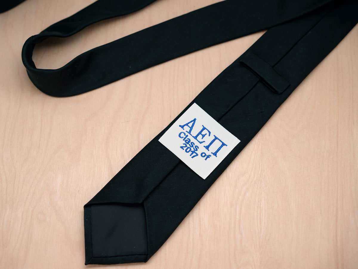 Monogrammed Greek Fraternity Tie Label