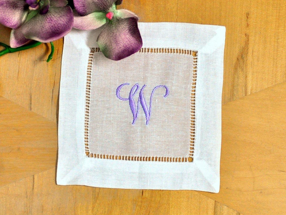 set of 4 monogrammed linen cocktail napkins 1 initial font j