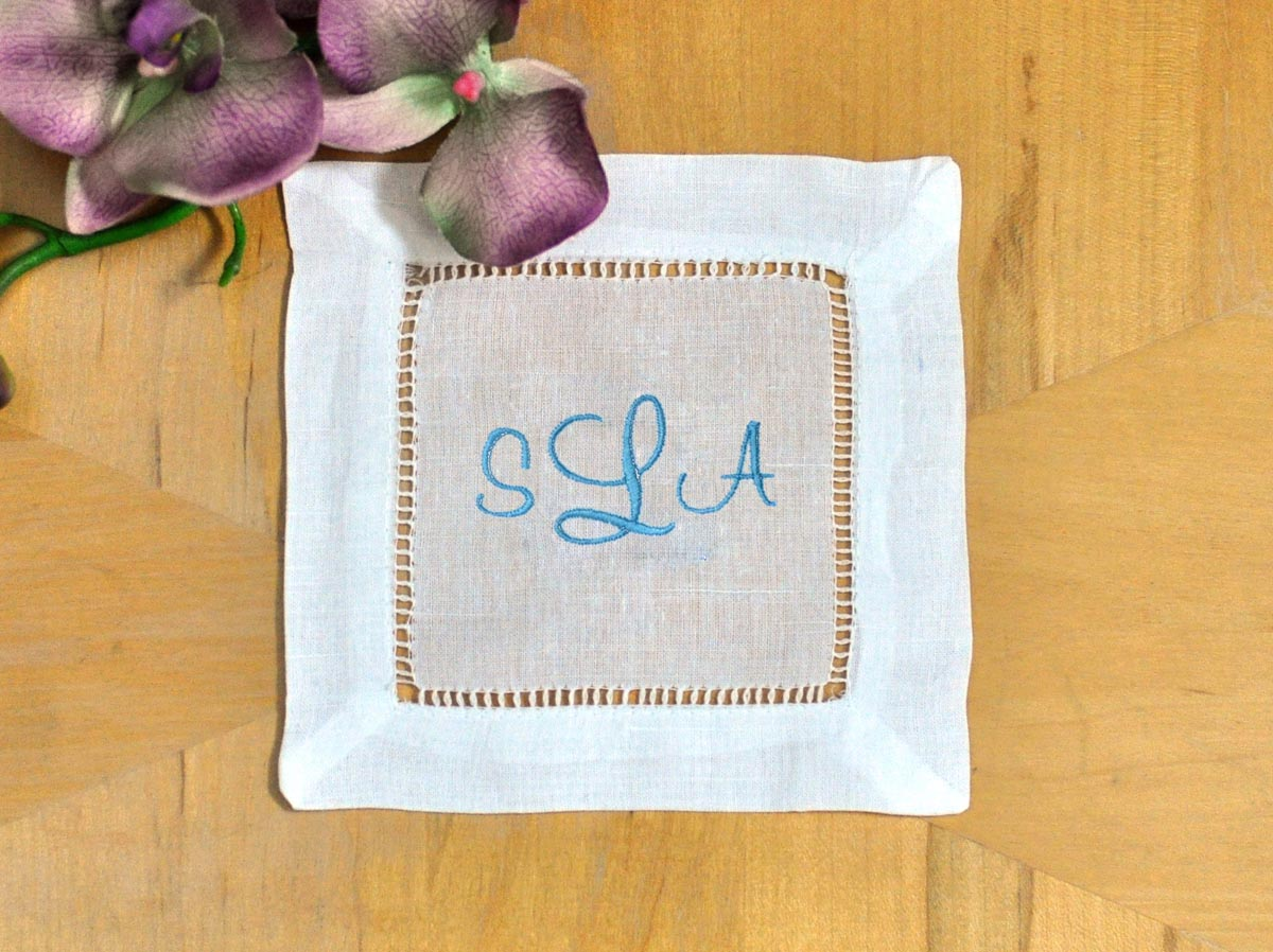 Set of 4 Monogrammed Linen Cocktail Napkins 3 Initial Font C