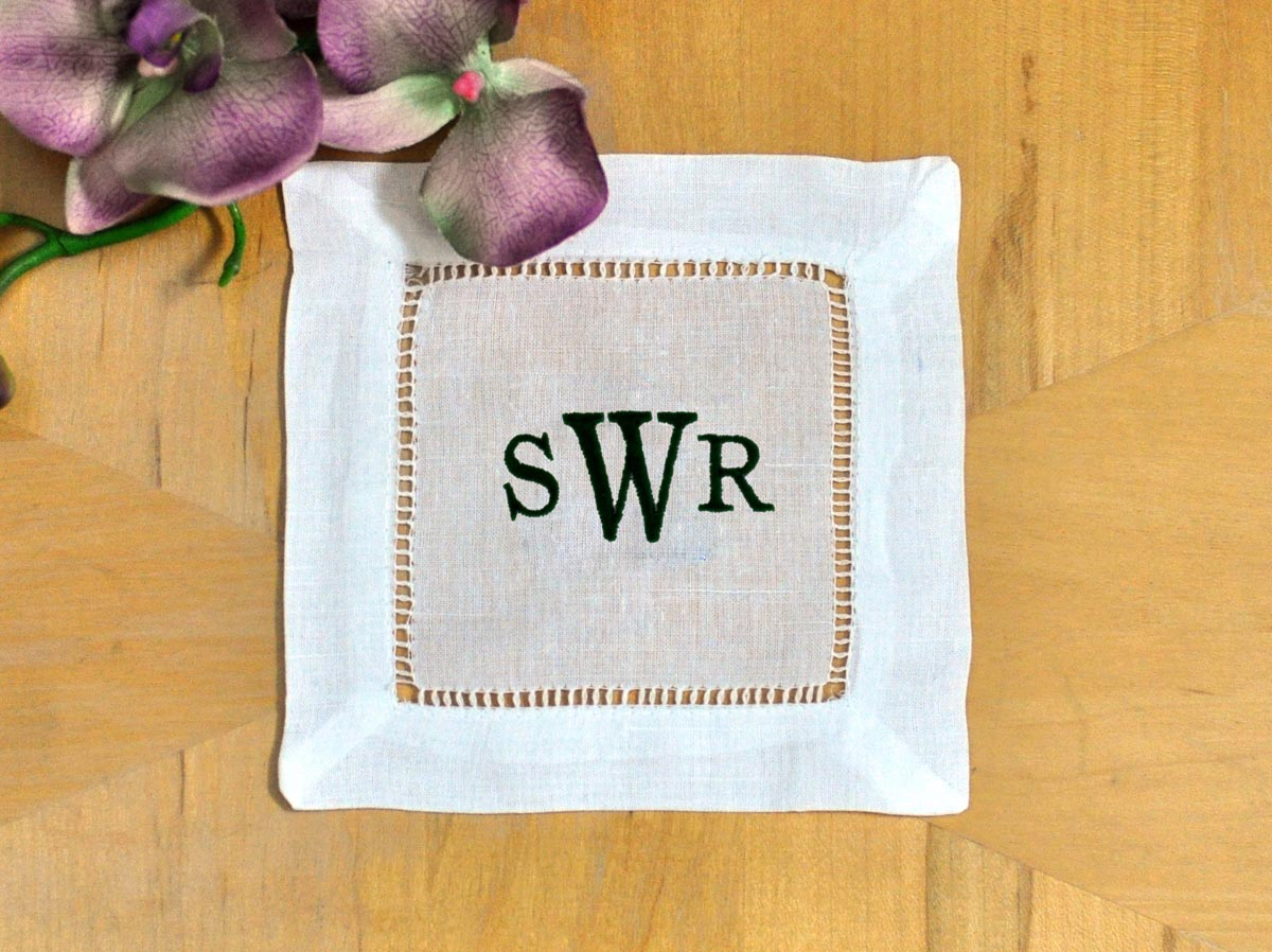 Set of 4 Monogrammed Linen Cocktail Napkins 3 Initial Font R
