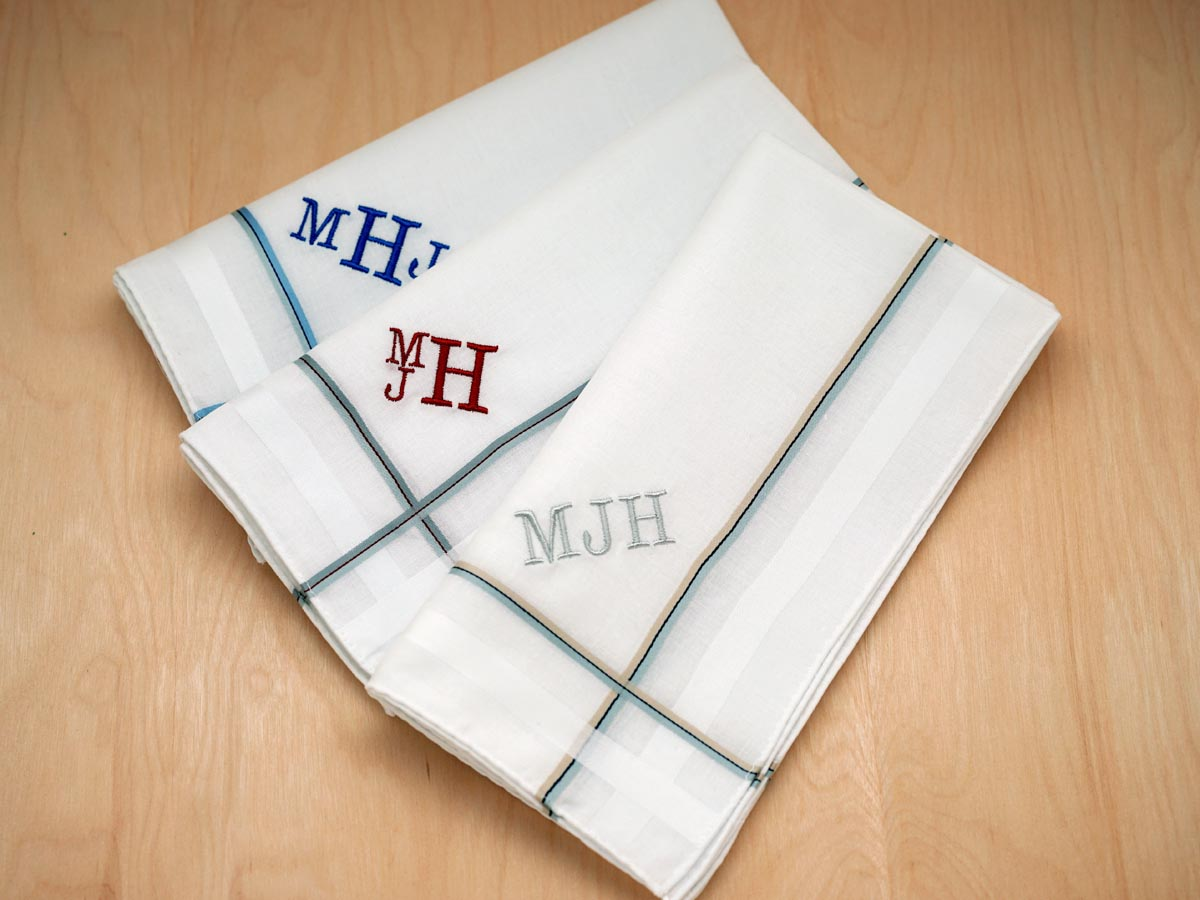 set of 3 assorted dual colored stripes monogrammed mens hankies