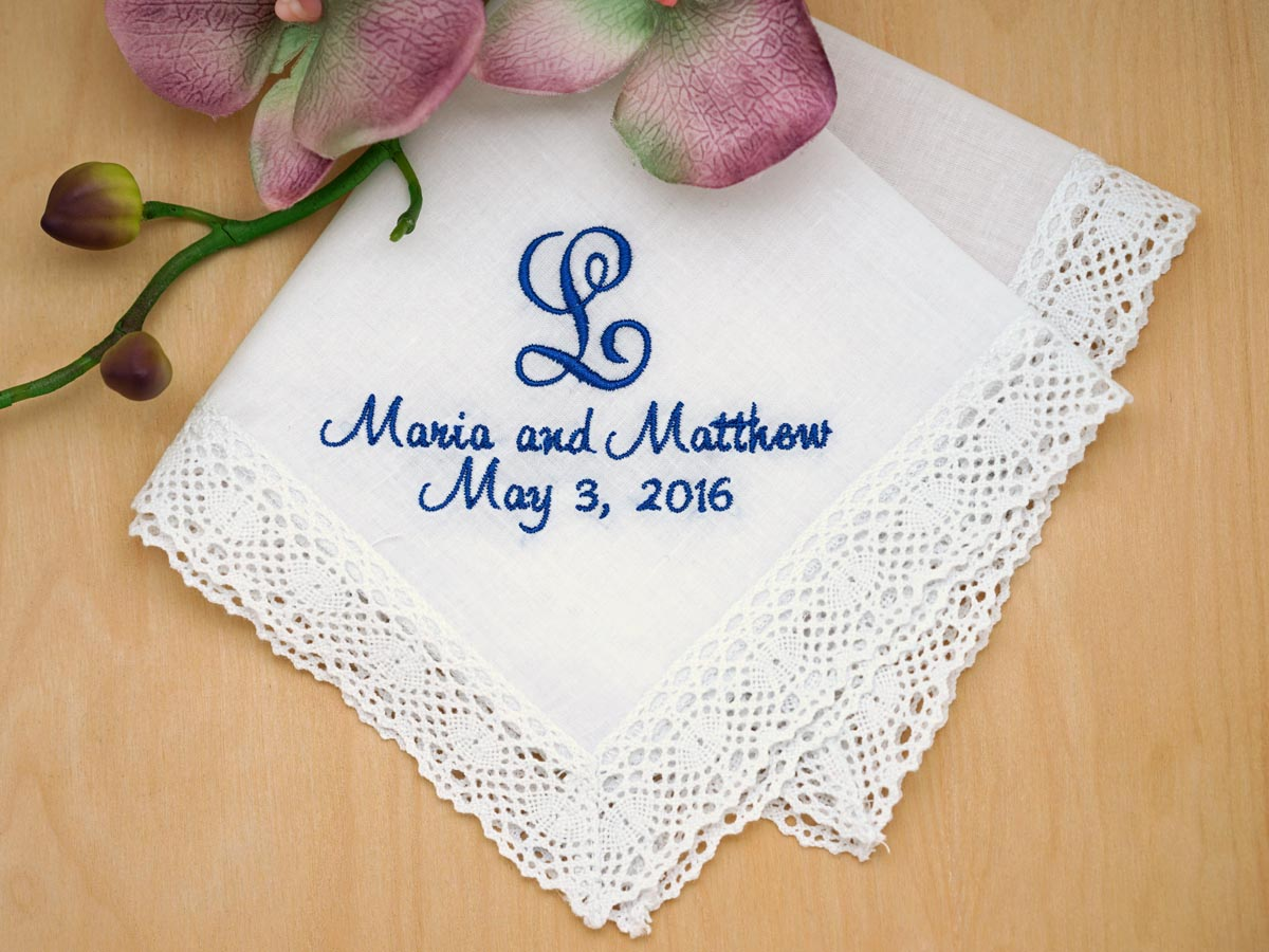 Initialed Bride Groom Wedding Date Hankie - Font J