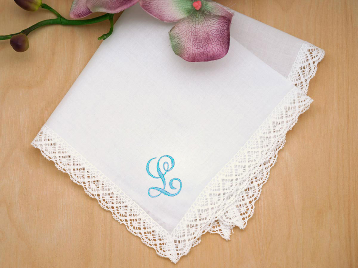 Monogrammed Wedding Hankie w/ Single Initial - Font J