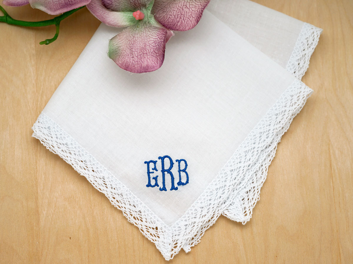 BOXED 3 MONOGRAM HANDKERCHIEFS EMBROIDERED PERSONALISED ANY INITIALS HANKIES