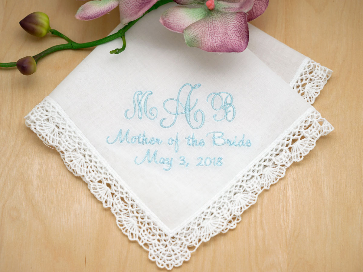 3 Initial Wedding Date Hankie w/ Line Of Your Choice - Font J