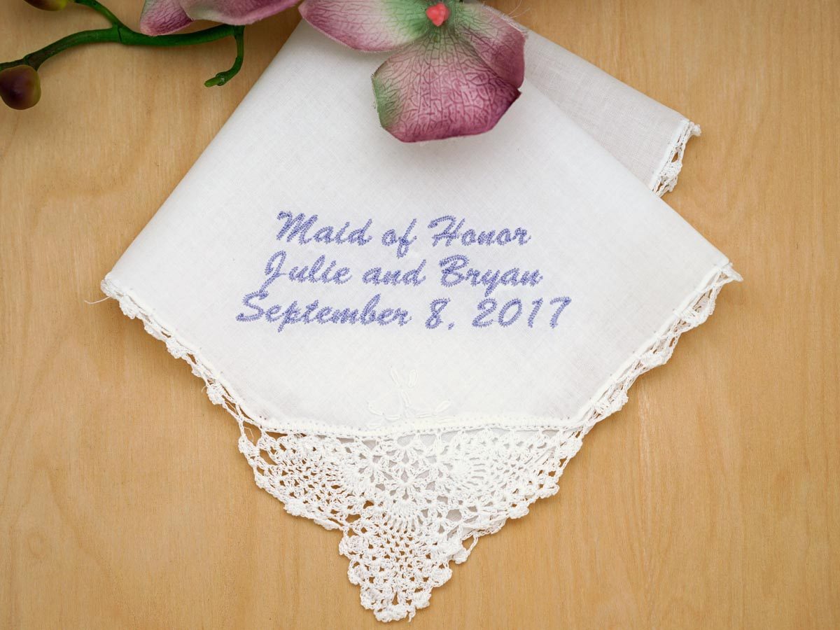 Personalized Up To Four Lines of Your Choice Hankie - Font L