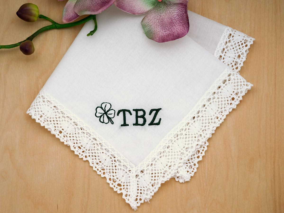 Monogrammed Lucky Four Leaf Clover Ladies Handkerchief- Font R