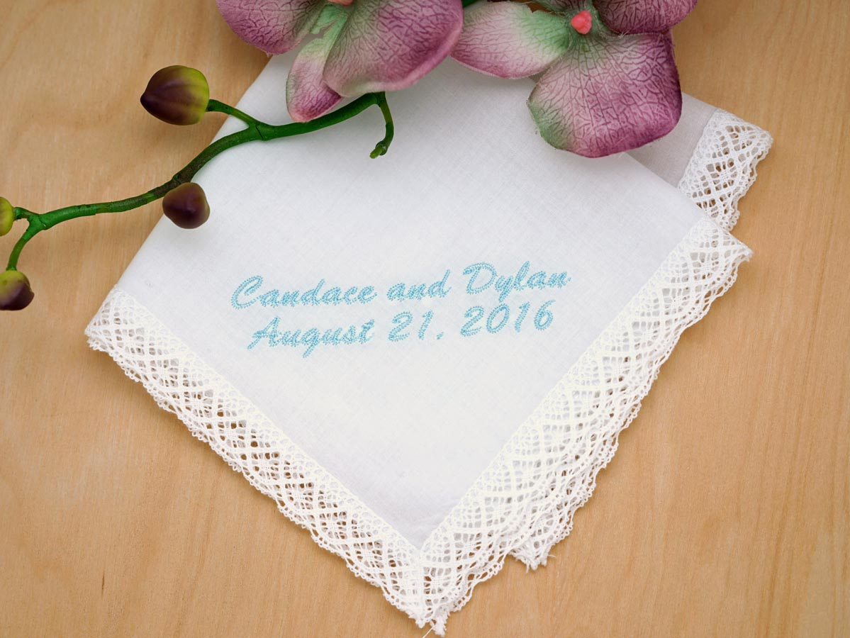 Personalized Bride Groom Wedding Date Hankie - Font L