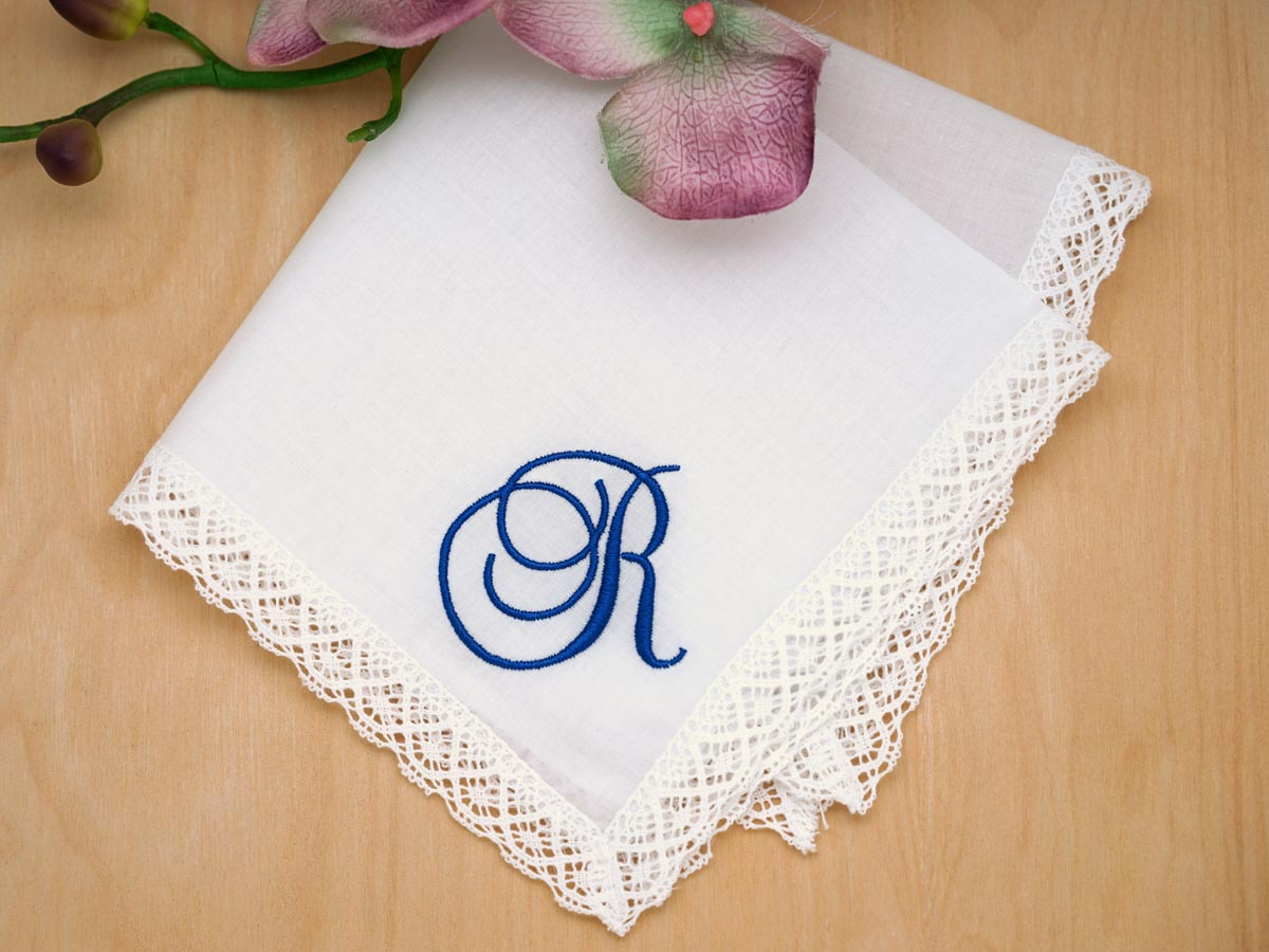 Monogram Initial Letter Personalised Embroidered Handkerchief Ladies Men/'s White