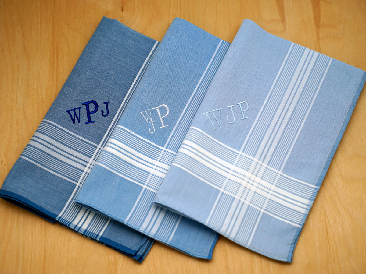 3 BLUE WHITE 100/% COTTON EMBROIDERED PERSONALISED HANDKERCHIEF ANY NAME GIFT