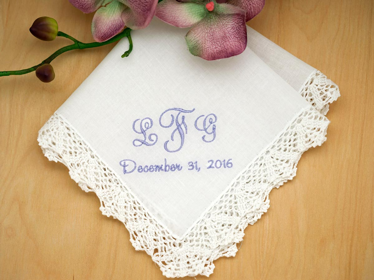 Monogrammed Wedding Hankie w/ 3 Initials And Date - Font J