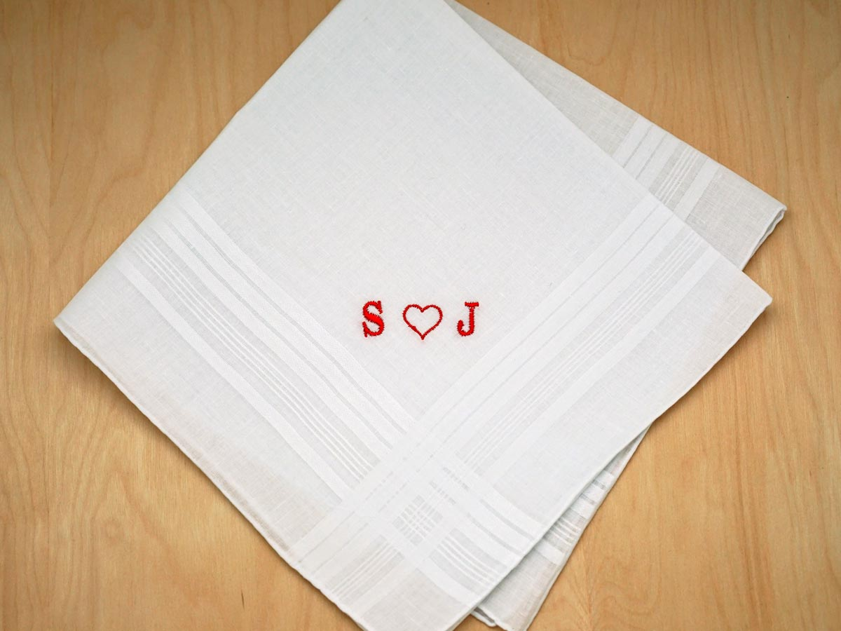 Mens Monogrammed Heart Handkerchief- Font R