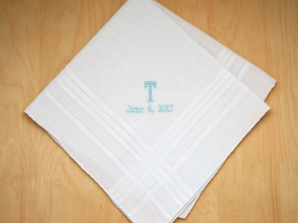 Mens Monogrammed Wedding Hankie w/ 1 Initial Date - Font E