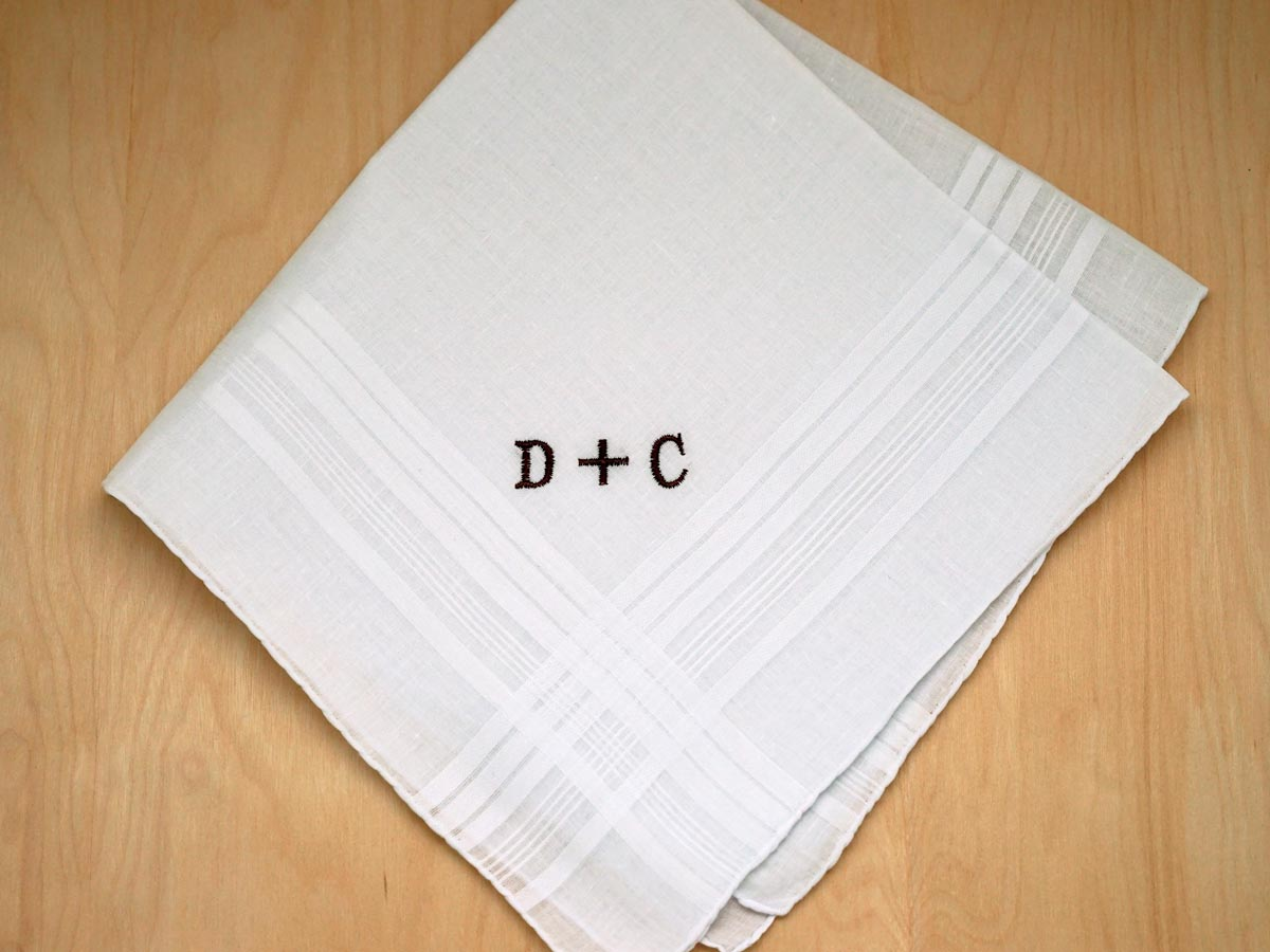 Mens Monogrammed Couples Handkerchief - Font R