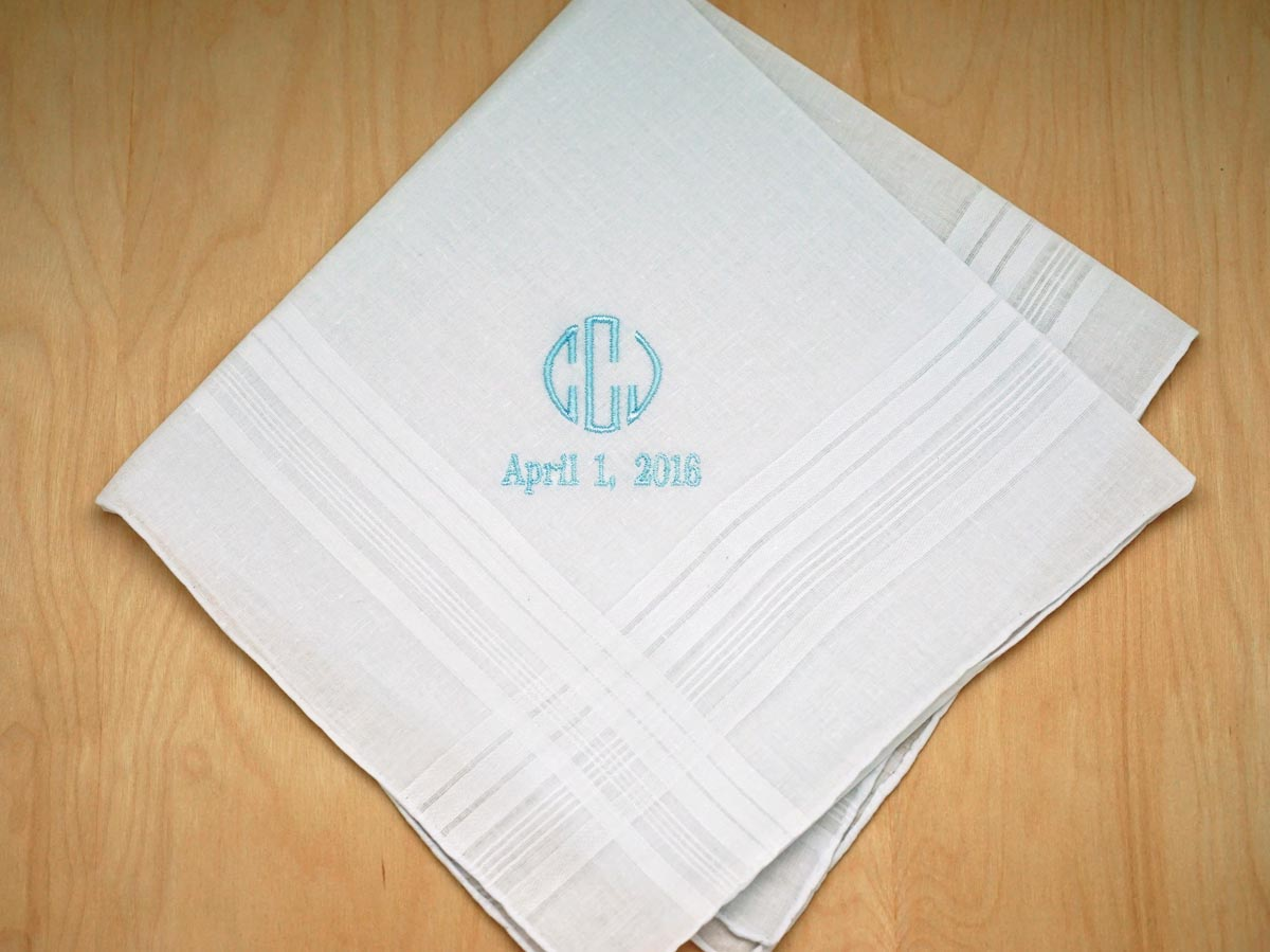 Mens Monogrammed Wedding Hankie w/ 3 Initials Date - Font O
