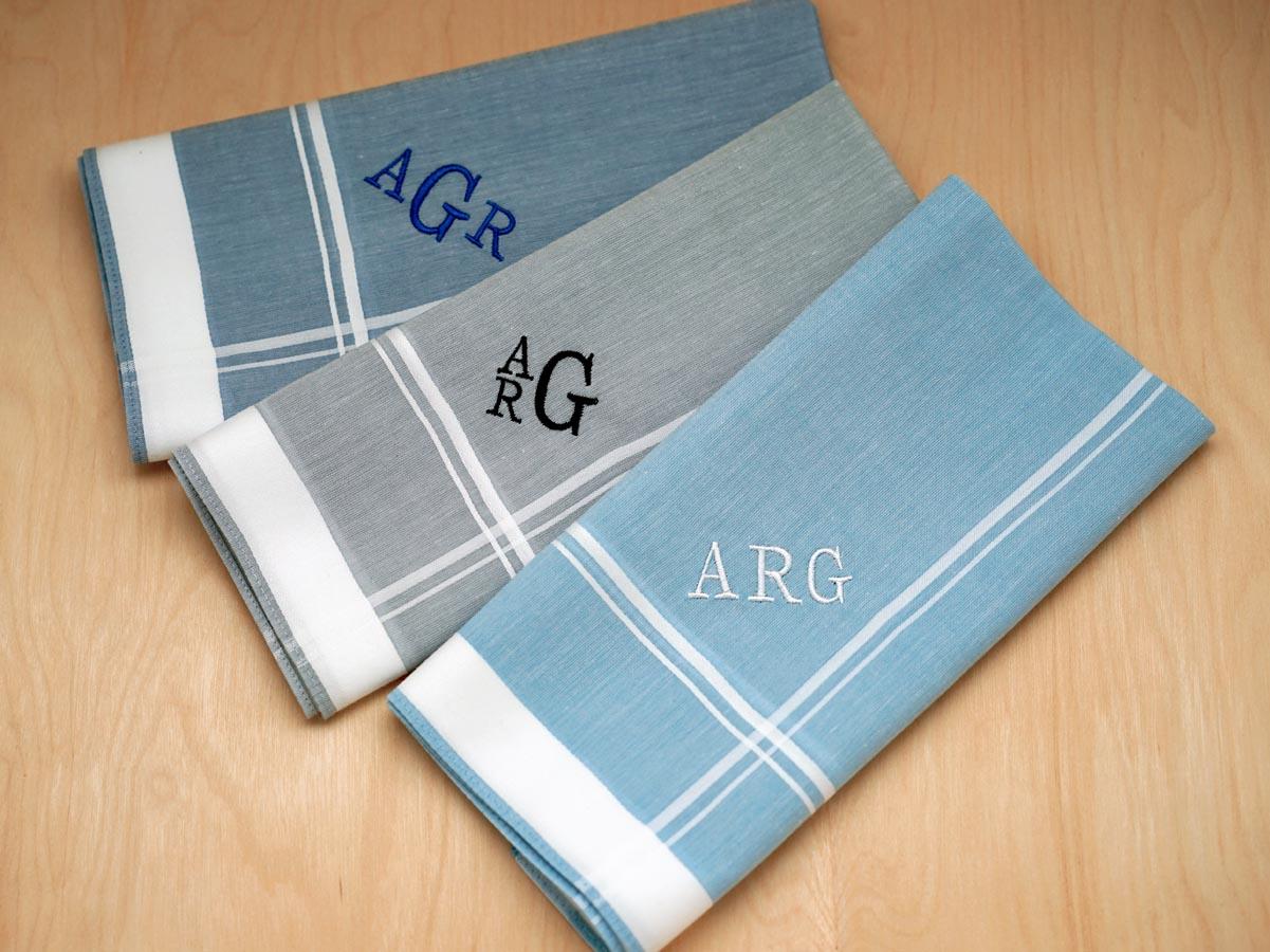 Set of 3 Mixed Blue Gray Monogrammed Mens Handkerchiefs - Font R