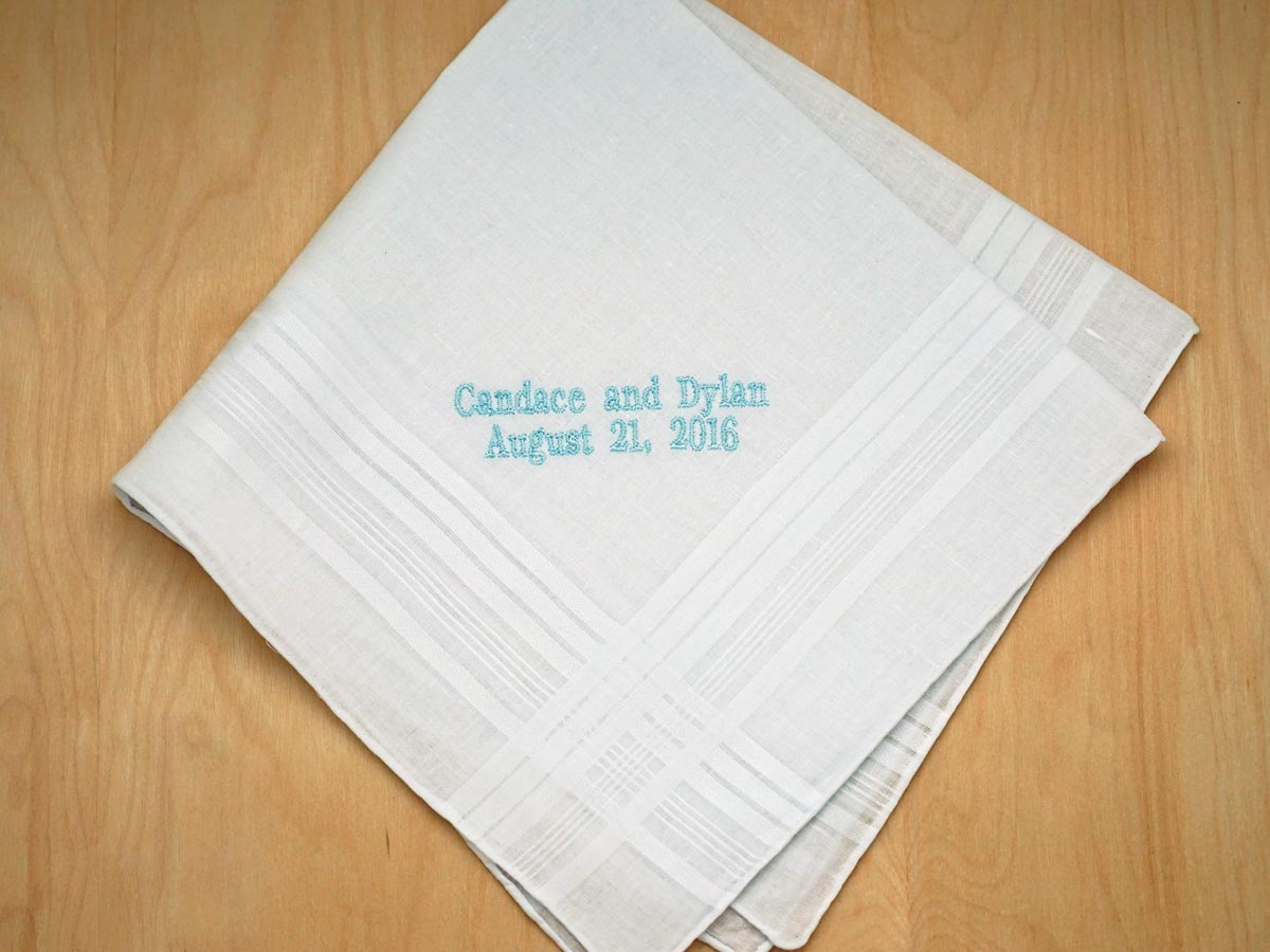 Personalized Bride Groom Wedding Date Hankie - Mens Font H