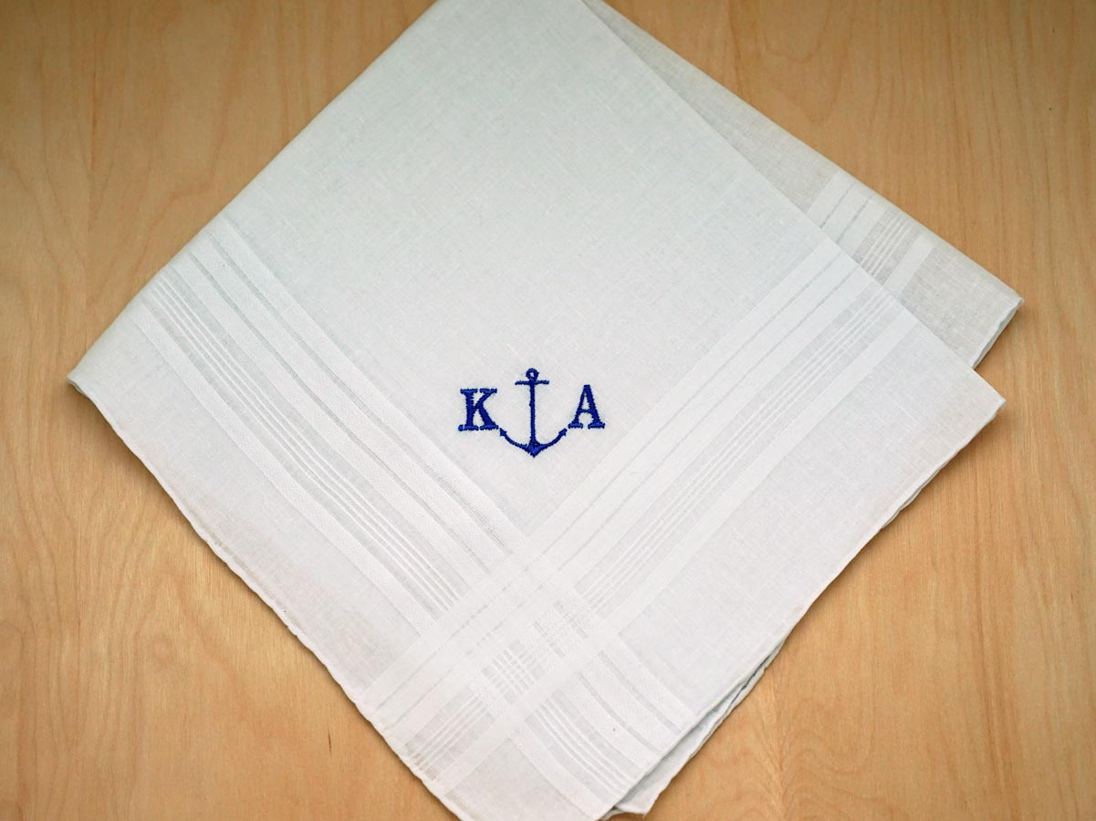 mens monogrammed nautical anchor handkerchief