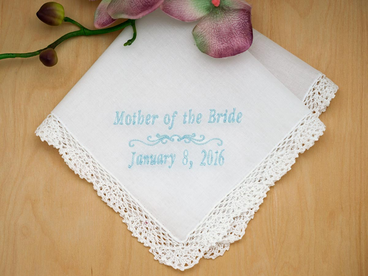 Mother of the Bride Personalized Handkerchief w/Date - Font I