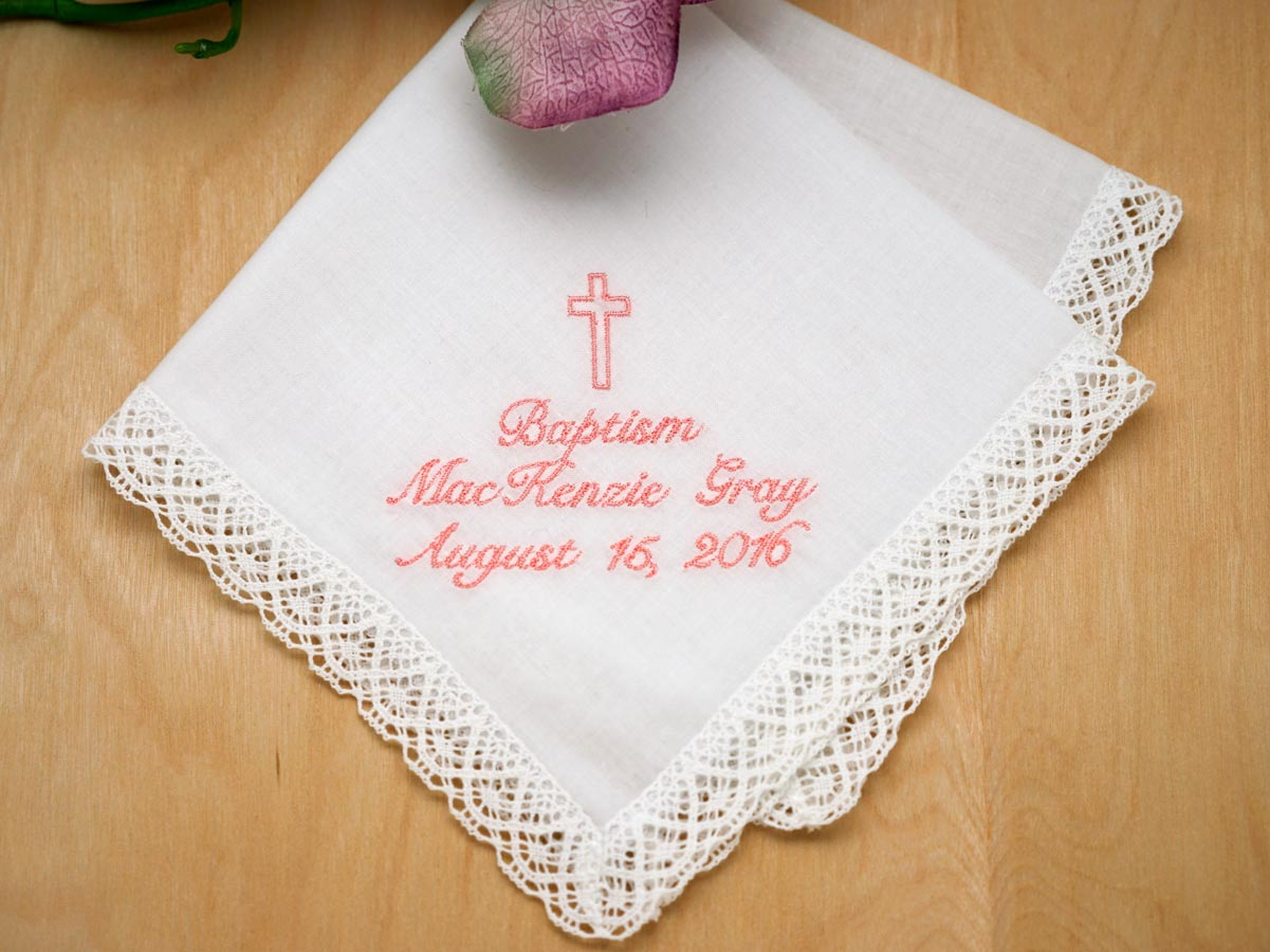 Personalize Up To 3 Lines Hankie w/ Cross - Font S