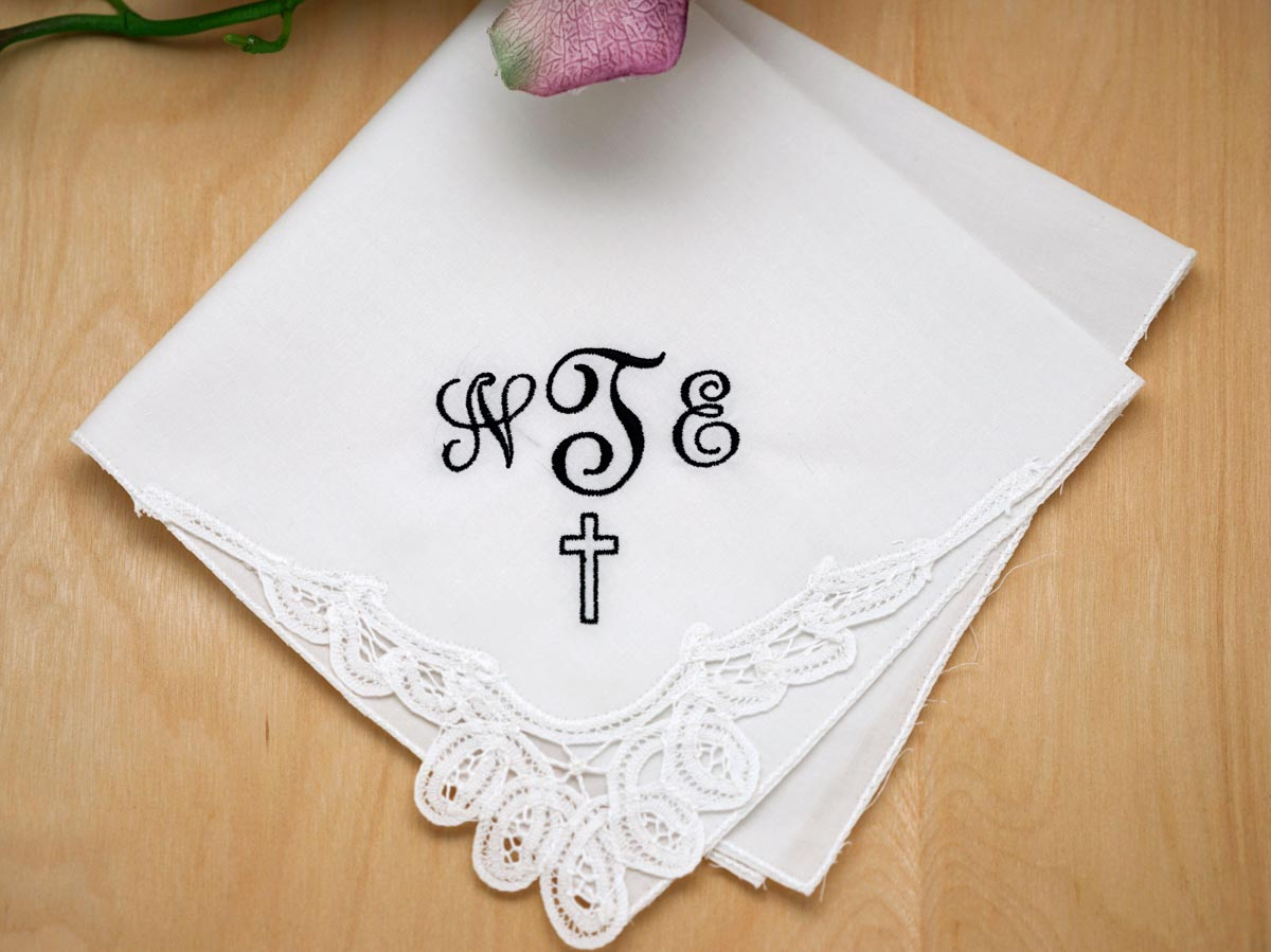 memorial monogrammed handkerchief w   3 initials cross