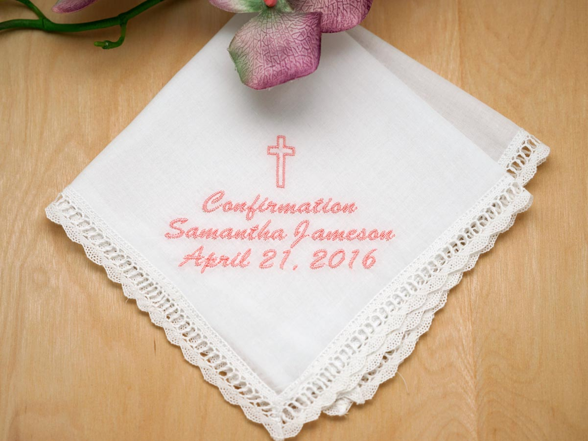 Personalize Up To 3 Lines Hankie w/ Cross - Font L