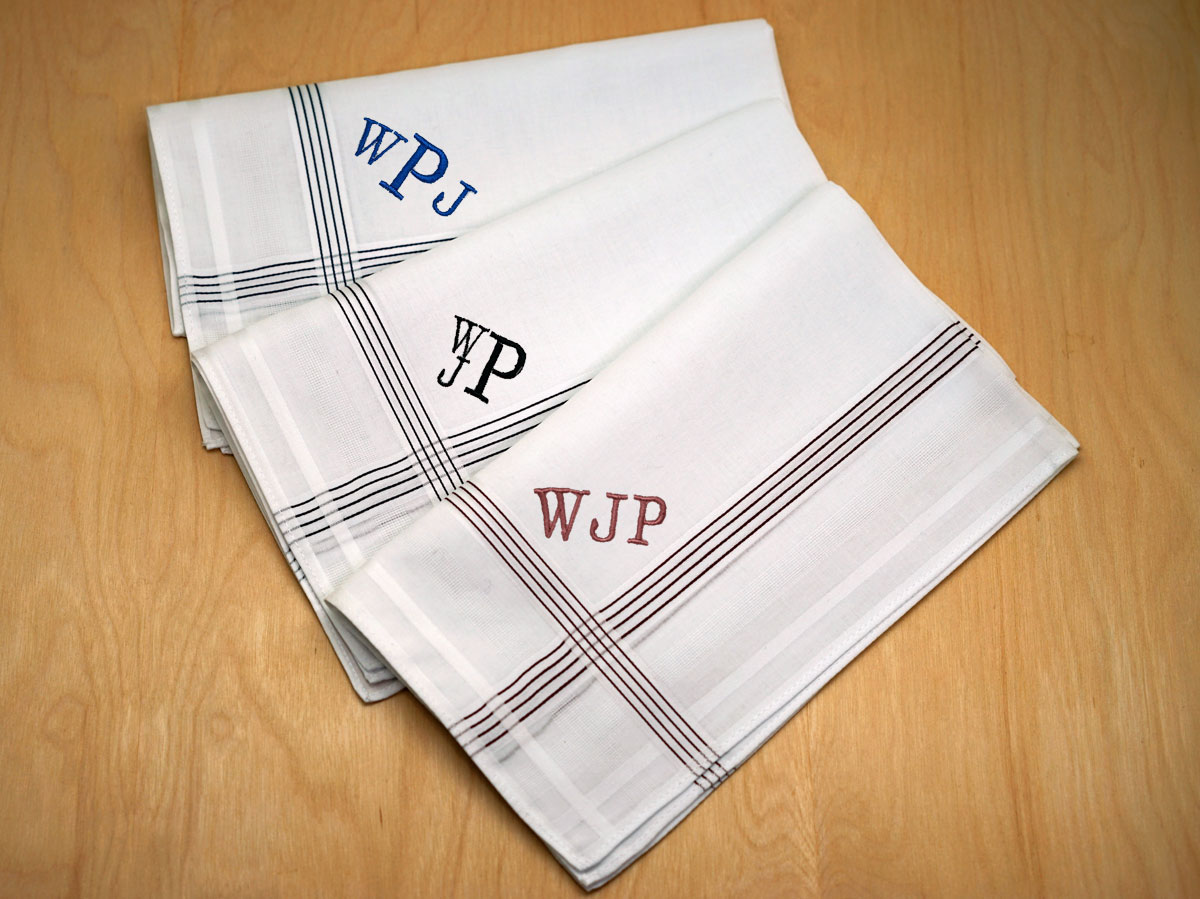 Set of 3 Personalized Striped Mens Handkerchiefs - Font R