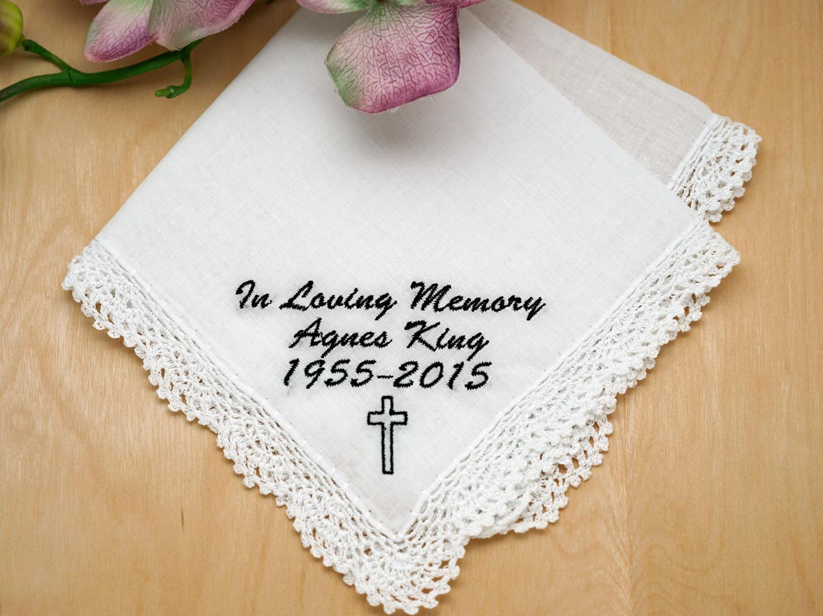 Memorial Personalized Up To 3 Lines Hankie w/ Cross - Font L