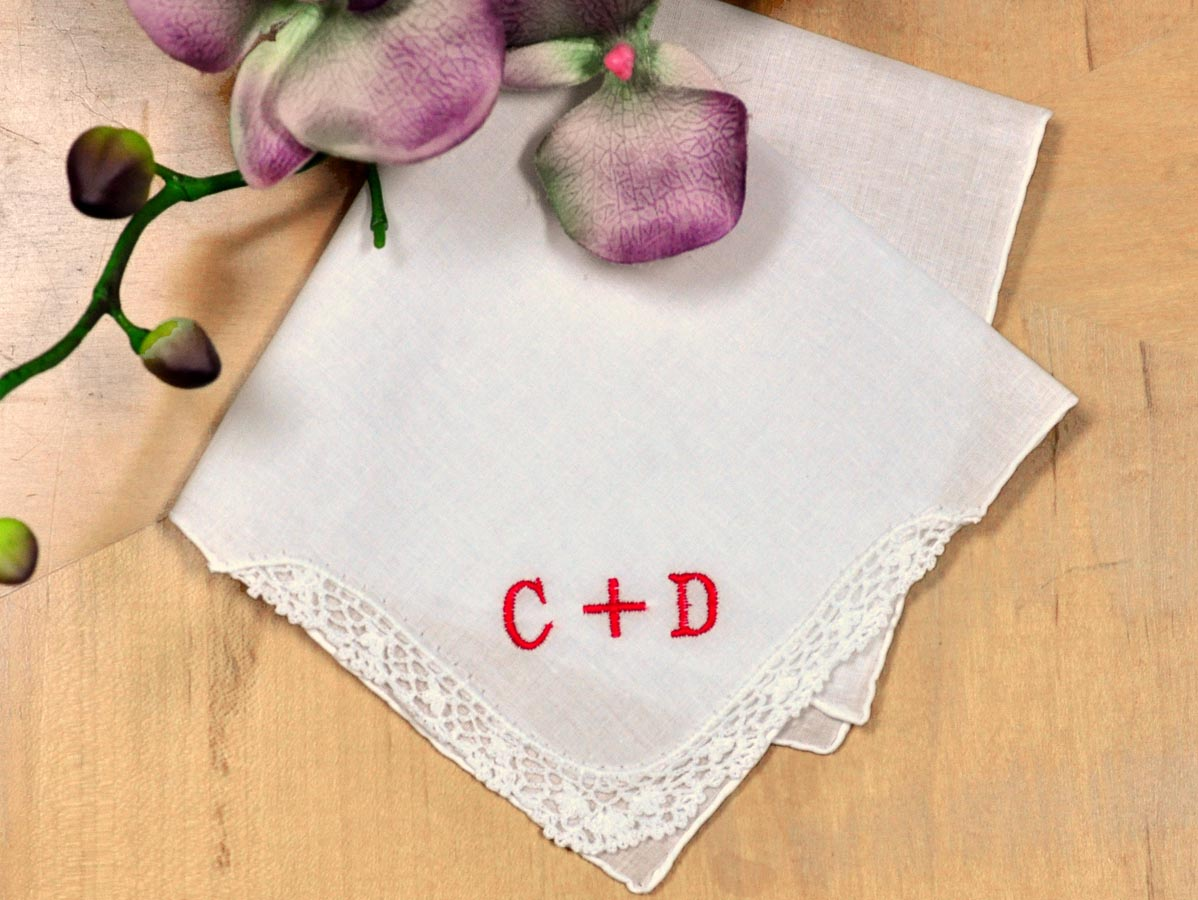 Valentines Day Ladies Handkerchief- Font R