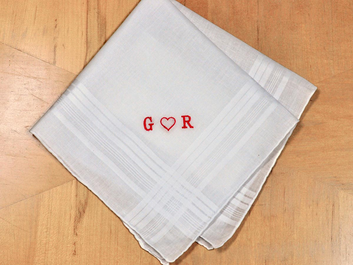 Mens Valentines Day Heart Handkerchief- Font R