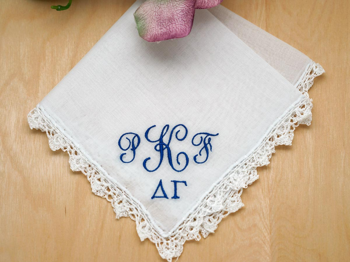 Monogrammed Greek Sorority Ladies Handkerchief