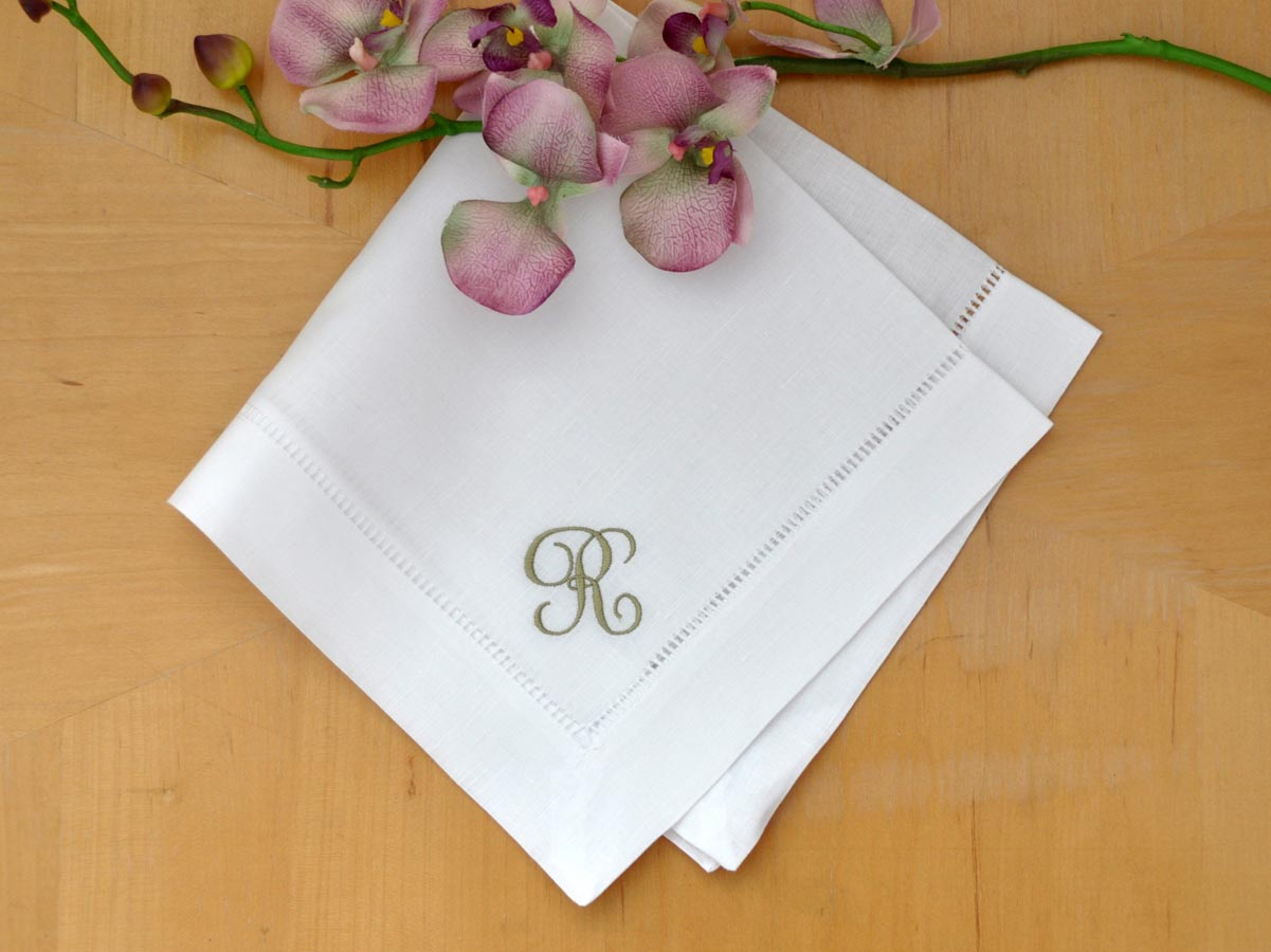 Set of 4 Monogrammed Linen Dinner Napkins w/ 1 Initial- Font J
