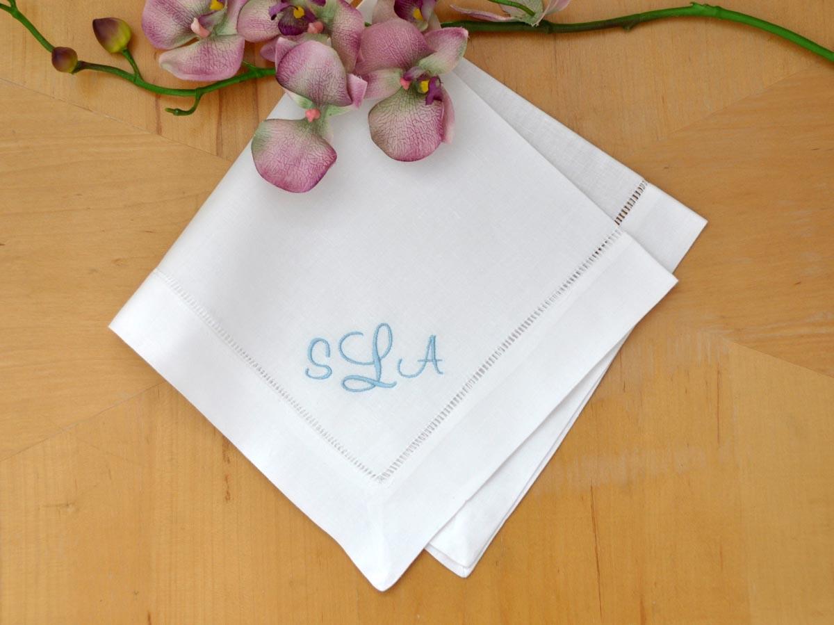 Set Of 4 Monogrammed Linen Dinner Napkins W 3 Initials Font C