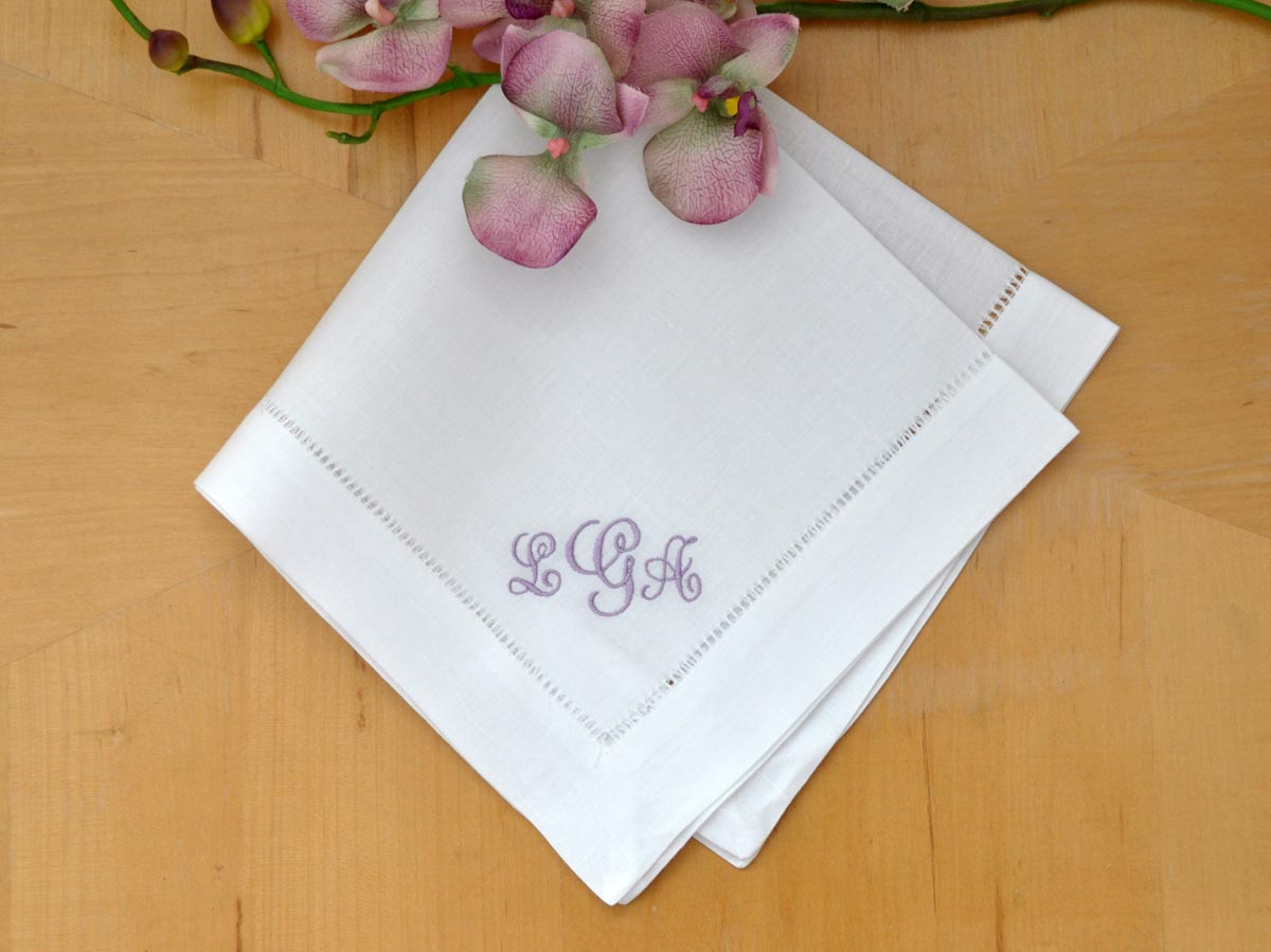 Prize: Set of 4 Monogrammed Linen Dinner Napkins w/ 3 Initials