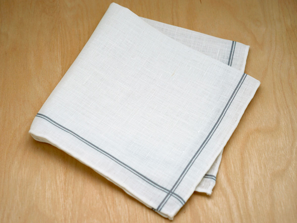Gray Striped Mens Linen Pocket Square