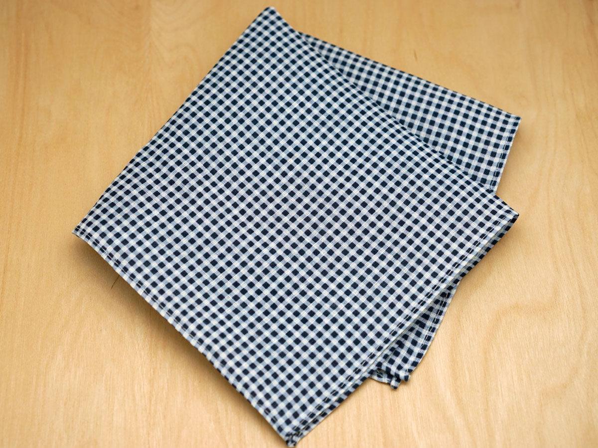 Navy Gingham Mens Linen Pocket Square