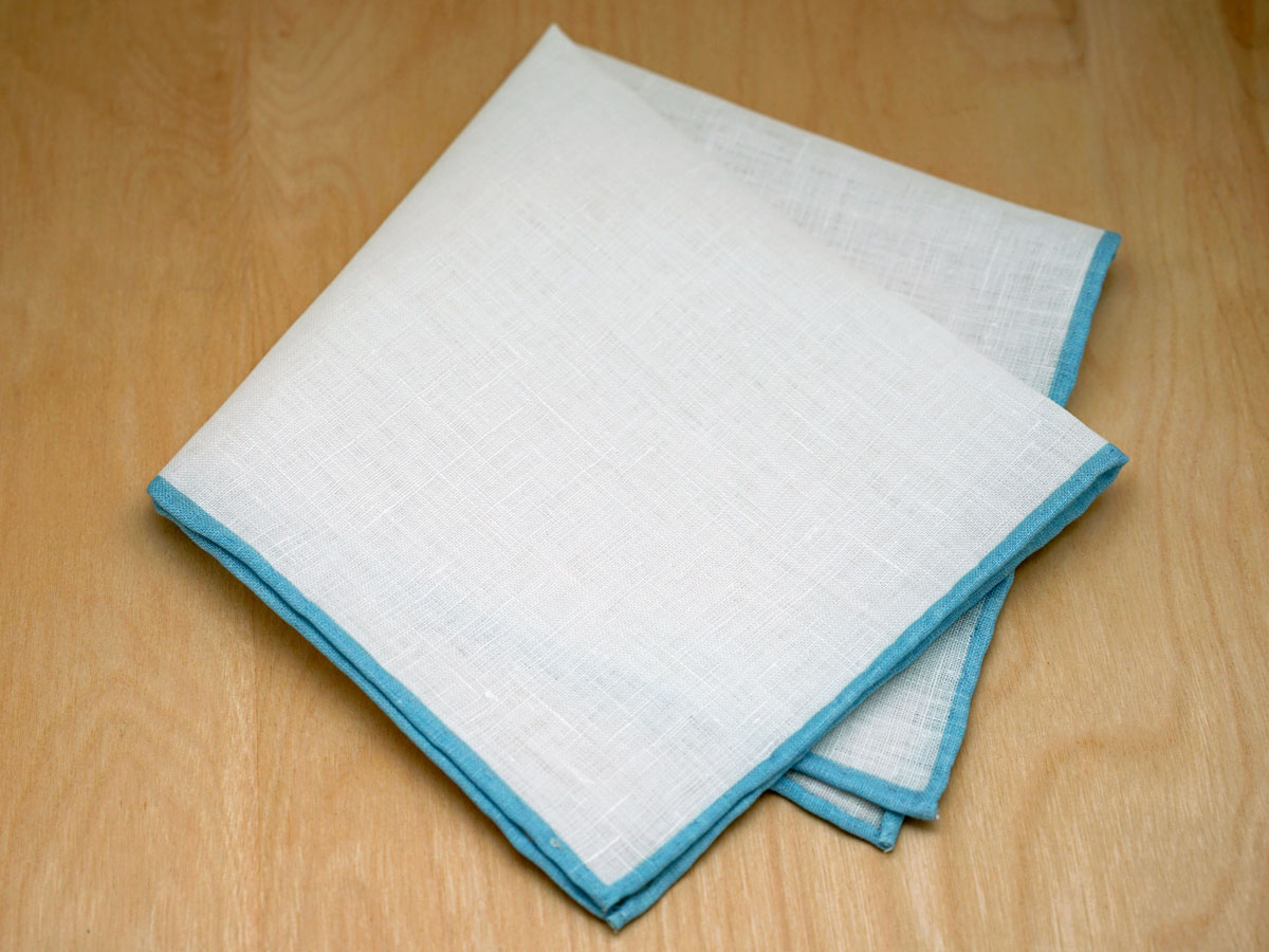 Light Blue Edged Mens Linen Pocket Square