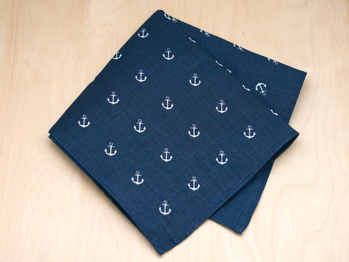 Nautical Navy and White Mens Linen Pocket Square