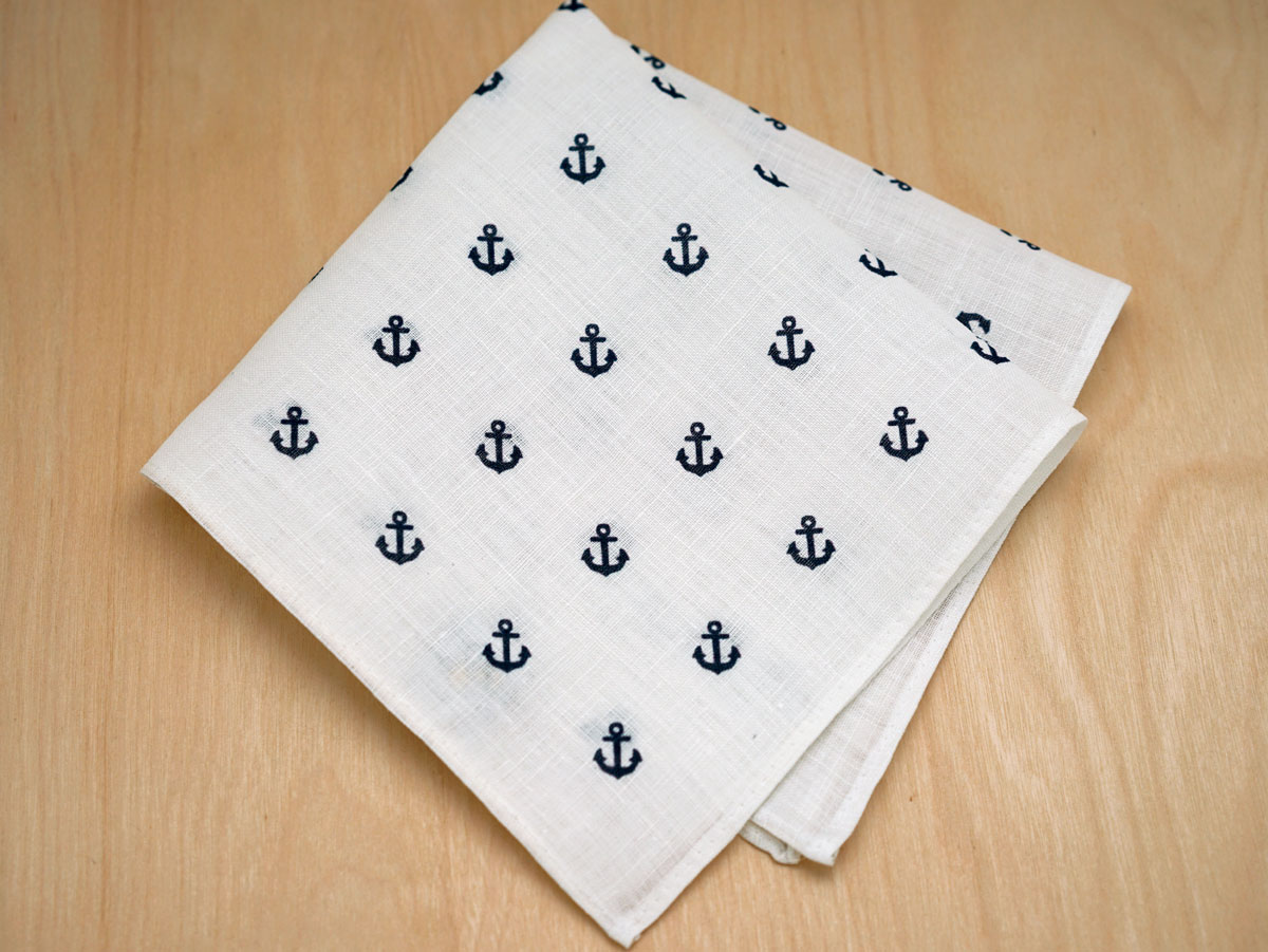 White Nautical Mens Linen Pocket Square