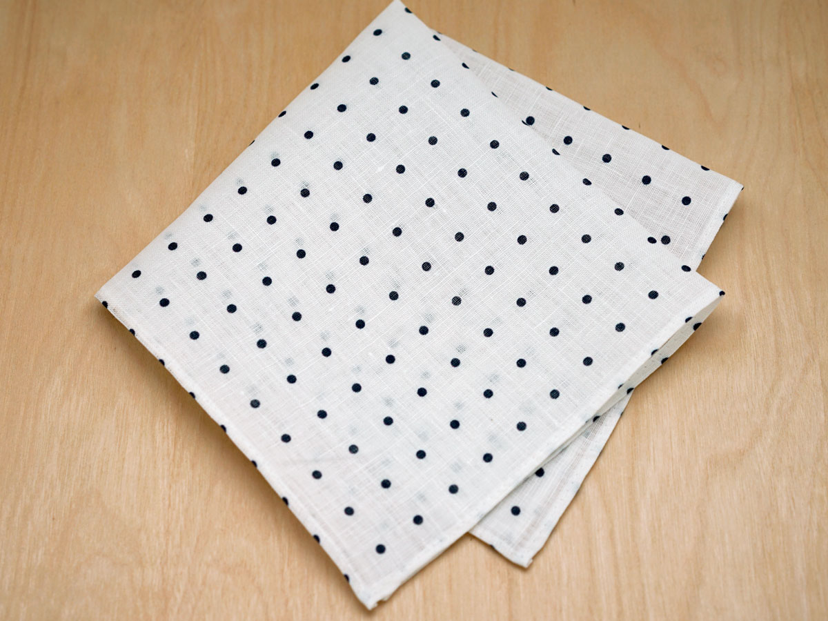 White With Navy Polka Dot Mens Linen Pocket Square