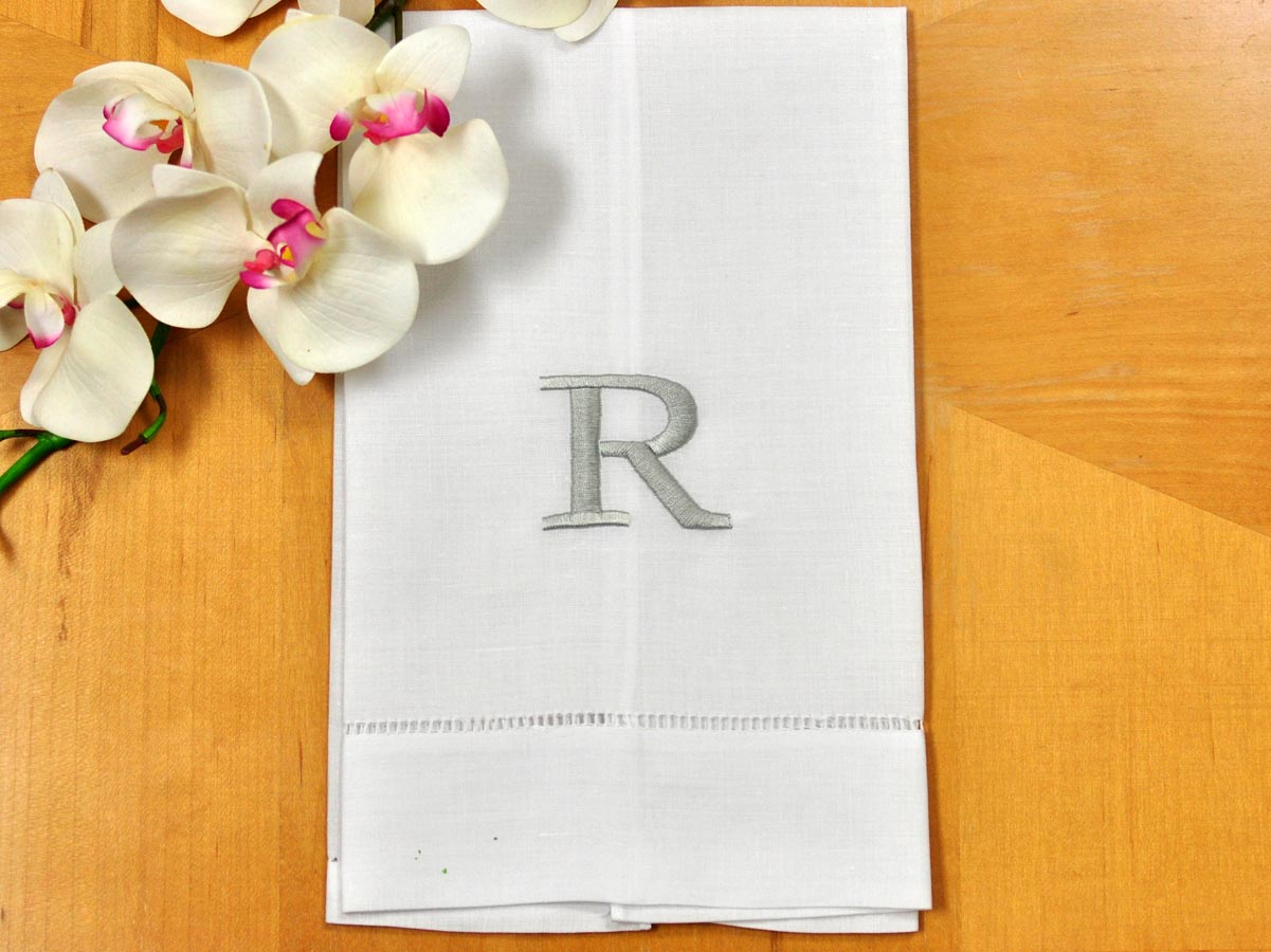 Monogrammed White Linen Hand Towel w/ Single Initial Font R