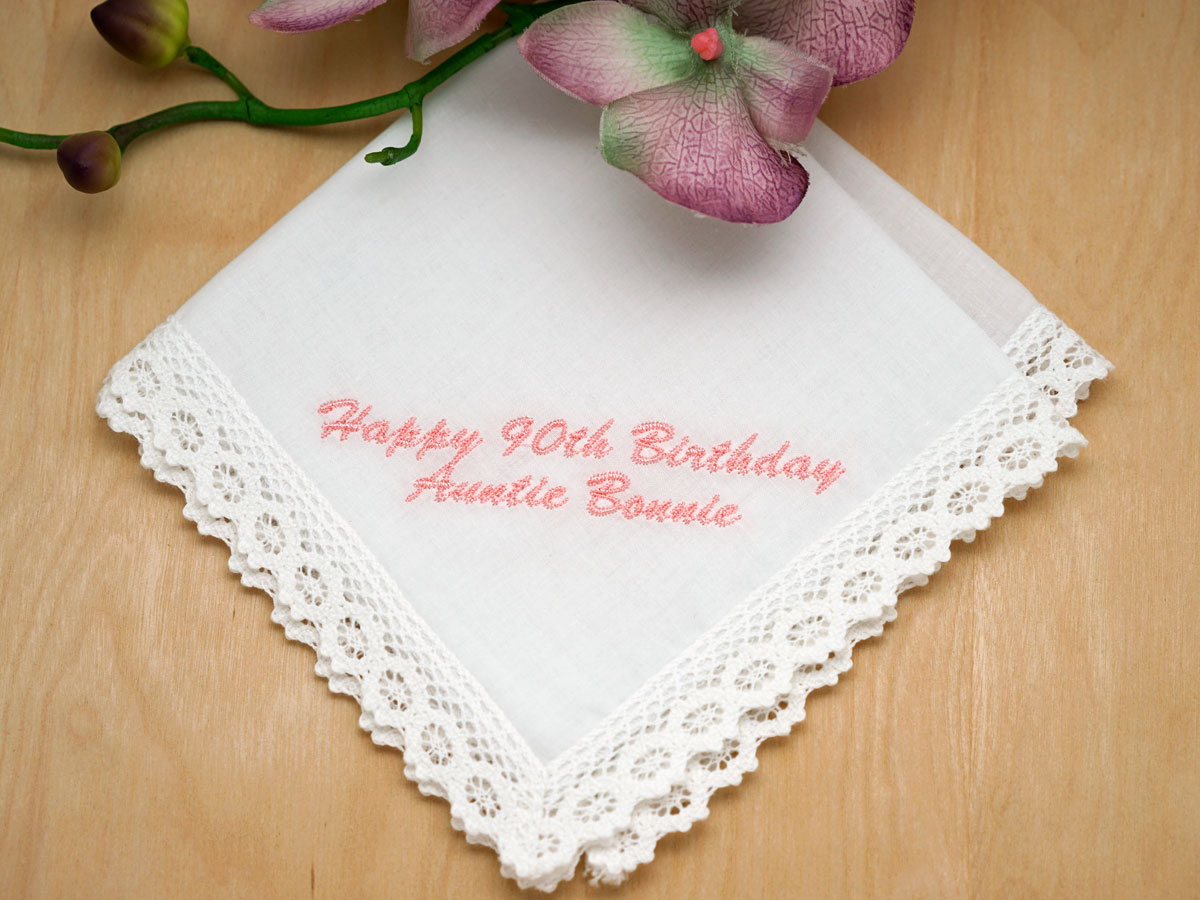 Personalized Up To 4 Lines Birthday Hankie - Font L