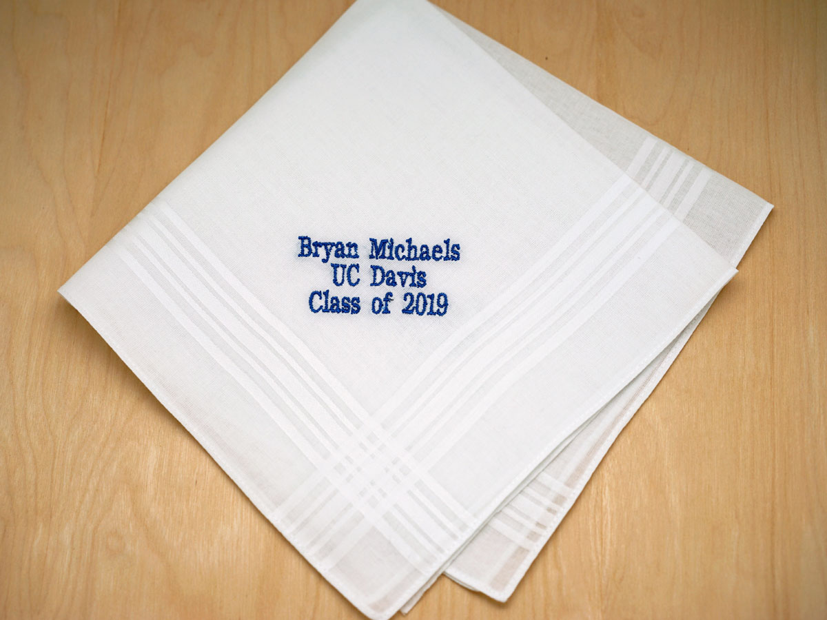 Personalized Up To 4 Lines Graduation Hankie Mens Font H