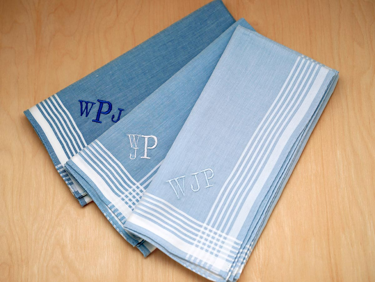 Set of 3 Variety of Blue Striped Monogrammed Hankies Font R